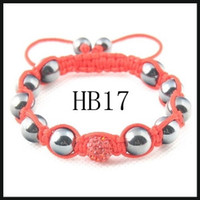 Wholesale Mix option Fashion jewelry Hematite magnetic disco ball beads bracelet free box gift