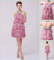 Wholesale 2013 Dhgate Hot Halter Mini Chiffon Ruffles Silver Beaded Backless knee Length Cocktail Dress DH4092