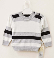 Wholesale Fashion Knitting Patterns Toddlers Stripe Sweater Children Pullover Baby Sweaters Infant Clothing