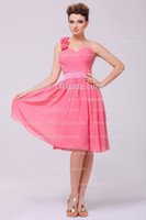 Wholesale 2013 One stopos Dhgate Hot Sale Sexy One Shoulder Knee Length Chiffon Coral Bridemaid Dresses DH4097