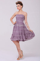 Wholesale 2013 One stopos Dhgate Hot Sale Sexy Strapless Knee Length Chiffon Ruffles Bridemaid Dresses DH4094