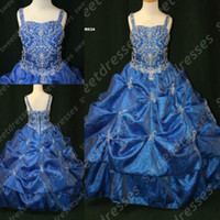 Wholesale 2014 Latest design noble royal blue Girls Pageant Dresses shining sequence beaded bodice spaghetti straps ruched Girls Pageant dress