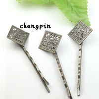 Wholesale Antique Bronze With mm Filigree Wrap Tray Pad Bobby Hair pin clips Jewelry Findings Accessories