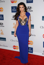 Wholesale Kim Kardashian Grammy Royal Blue Mermaid Chiffon Short Sleeve Celebrity Evening Dresses Gown