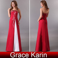 Grace Karin Long Sexy Strapless Wine Red Lace Up Embroidery ...