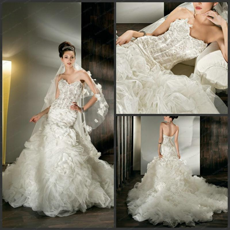 Lace crytal dropped waist demetrios corset bodice sheer for Wedding dresses with ruching and dropped waist