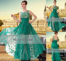 Wholesale 2013 Sexy Green Bateau Spaghetti Straps Beaded Lace Chiffon Full Length Prom Evening Dresses M204