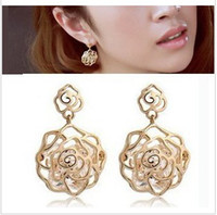 Wholesale EMS freeshipping pairs girl rose quartz earring Crystal earrings new arrival lowest price