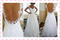 latest bridal wedding gowns - Custom Latest Charming Sexy V Neck Backless Wedding Dresses Lace Bridal Wedding Gowns Low Price