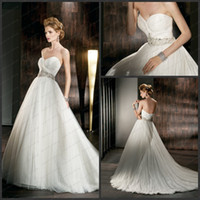 Wholesale Sash Corset crytal Luxury demetrios weddig dress V neck A line tulle Wedding Dresses Bridal Gown
