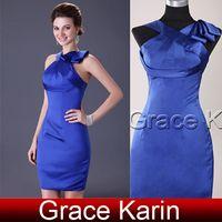 Grace Karin Stunning Satin Prom Dresses Blue Sheath Column W...