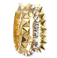Wholesale New European Punk Style Set Silver Gold Plated Alloy Crystal Rivets stretch Bracelet set