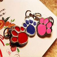 Wholesale Lovely Paw Print Pet Dog Cat Metal ID Tag Necklace Penant Keychain Clip Buckle