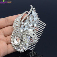 Wholesale Seperwar Bridal Clear Flower Ribbon Drop Hair Comb Tiara Rhinestone Crystals