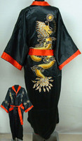 Wholesale Reversible Red blacks Men s Silk Satin embroidery dragon Kimono Robe S M L XL XXL