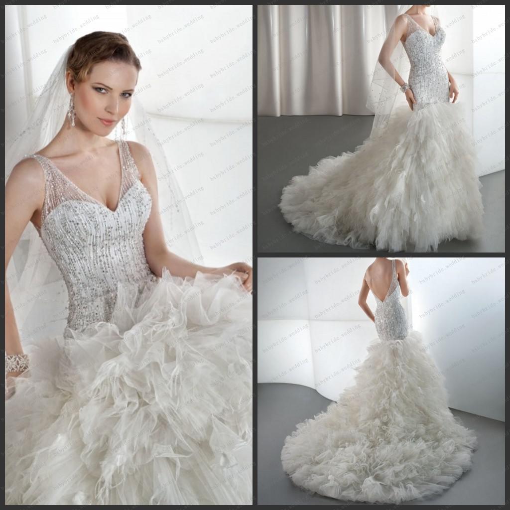 2013 drop waist beading bodice v neck low v back ruffled for Low waist wedding dress