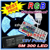 Wholesale RGB Led Strip light Waterproof M SMD LEDs Roll keys Remote Controller V A Power supply US EU UK AU plug