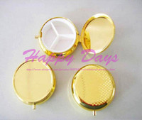 Wholesale Gold Pill Boxes DIY Travel Medicine Organizer Container Metal Mini Jewelry Box Case