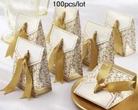 Wholesale 100pcs Gold Ribbon Wedding Favor boxes For Cake boxes Candy box bevorzugungen hochzeit