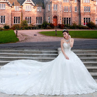 Wholesale 2014 Christmas Hot Sale Off Sexy Bridal gowns Sweetheart Lace Monarch Train Beaded Crystal Bow Appliques Romantic White Wedding Dresses