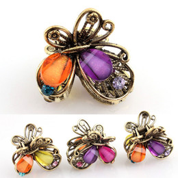 Wholesale Little Butterfly Hair Clips Resin Crystal Colorful Clamps Mix Colour FS066