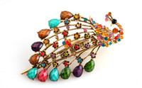 Wholesale Palace Hair Clips Resin Rhinestone Colorful Bling Tails Peacock Barrettes Mix Colour FS099