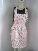 Wholesale Lady s retro Style Flower pattern with Pocket Cotton Kitchen cooking baking Apron