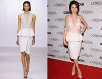 Reference Images Strapless Organza Customized Selena Gomez 2013 Sheer Lace Short Peplum Evening Dresses Organza Keyhole Knee-Length