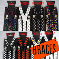 Wholesale New Mens Womens Unisex fashion Elastic Wide Clip on Braces Elastic Y back Suspenders