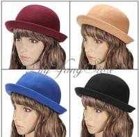 Wholesale Vintage Unisex Roll Brim Bowler Derby Hats Billycock Cloche Wool Colors Xmas
