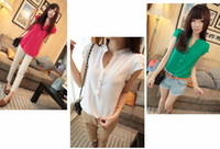 Wholesale new fashion women v neck silk blouse mix color short sleeve blouse and tops