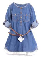 TuTu blue jean skirts - Girls Blue Jean Skirt Children Wear Shirt Dress Fashion Lace Dresses Long Sleeved Dress With Sash