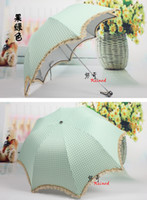 Wholesale Ladies Lace Parasol sun or rain Folding Umbrella strong UV cut