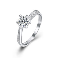 Wholesale Kastm brand genuine sterling silver women swiss diamond wedding engagement ring fine jewelr