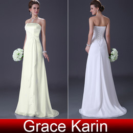 Wholesale Retail Elegant Strapless Bridal Wedding Gown Sheath Long Evening Dress White Ivory CL3184