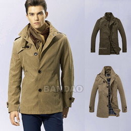 Wholesale Men s Dust Coat trench windcoat casual slim Fashion outwear winer trenchcoat
