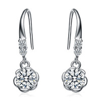 Wholesale Kastm Brand Real Sterling Silver Platinum Plated crystal flower drop earrings fine jewelry