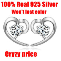 Wholesale Kastm Genuine Sterling Silver Swiss diamond small Love heart stud earrings TOP quality