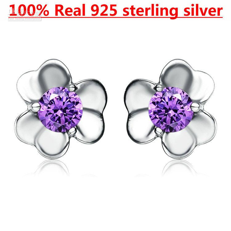 Buy Kastm Brand Pure 925 Sterling Silver Platinum Plated Amethyst Crystal Flower earrings fine jewelry k