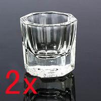 Metal art dish - 2 x Glass Crystal Bowl Cup Dappen Dish Arcylic Nail Art