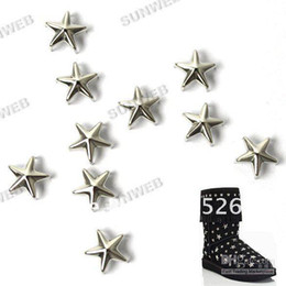 Wholesale hot sell MM DIY Pentagram Rivet Spike Stud Silver Star Spots Punk Leathercraft free shippin