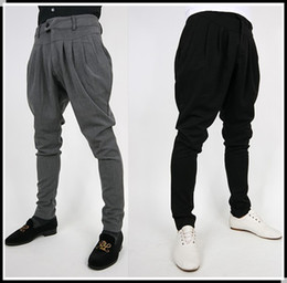 Wholesale Long Hip Hop Slim Half Trousers Slacks Baggy Harem Men s Casual Pants Free Ship