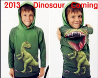 Wholesale Baby s dinosaur hoodies cute kid s wear children unisex clothes baby s green garment