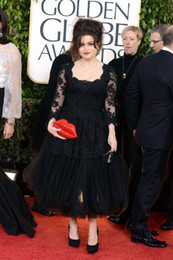Wholesale 70th Golden Globe awards Red Carpet Pageant Helena Bonham Carter Dresses A Line Scoop Black Lace