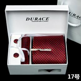 Wholesale Sales Discount Luxury Men cm Silk Neck Tie Bar Clasp Handkerchief Cufflinks Gift Pack Set Box