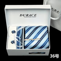 Wholesale Luxury Handmade Pure Korean Silk Mens Necktie Tie Clasp Hanky Cuff Link Gift Box Set Business Suit
