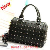 Wholesale 2013 women studded rivets boston bag tote shoulder cross body bags black blue pu punk