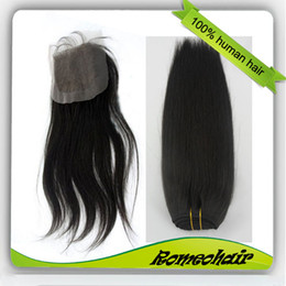 Wholesale Queen pc Lace Closure and Straight Hair Weft Peruvian Virgin Hair
