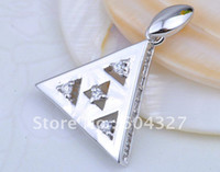 Wholesale Hot selling Sterling silver Micro Pave CZ Triangle Pendant Jewelry in Fashion Design A004 Size x24mm