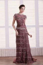 Wholesale Chocolate Mother of the Bride Dress Lace Empire Jewel Ruched Ribbon with Short Sleeves Sheer Beaded